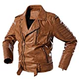 Letdown(TM) Men Leather Jackets Biker Motorcycle Lightweight Big & Tall Faux Leather Outerwear Unfilled Bomber Jacket