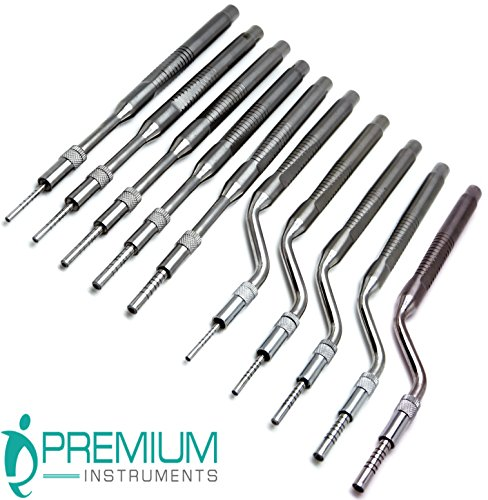 Dental Osteotomes Straight and Curved/Concave Tip Bone Spreading Surgical Instruments 10 Pcs