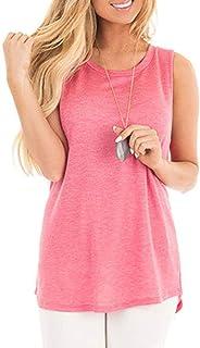UUYUK Womens Shirts Casual Comfort Soft Shirt Side Tunic Knotted Twist Sleeveless Tops