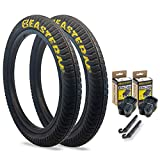 Eastern Bikes Curb Monkey 20 x 2.4 Inch Tire, with or Without Tube, Silver or Yellow Logo. Comes with Tire Lever Tools (Yellow Logo, 2 Pack Without Tubes)