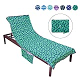 Runpilot Lounge Chair Cover Beach Towel with Pillow,SwimmingPool Lounge Chair Cover with Pockets Holidays Sunbathing Quick Drying Terry Towels(Excluding Chair)