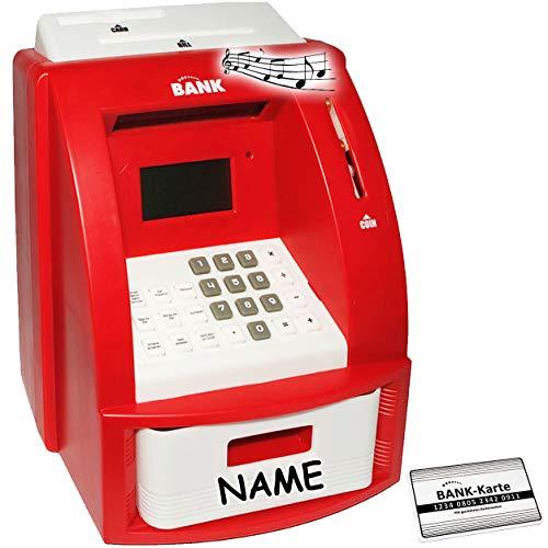 alles-meine.de GmbH elektrische Spardose -  Geldautomat - incl. Name  - rot - mit Sound + PIN Geldkarte + Sparzähler + Alarm Funktion + Zählfunktion / stabile & Digitale Sparbü..