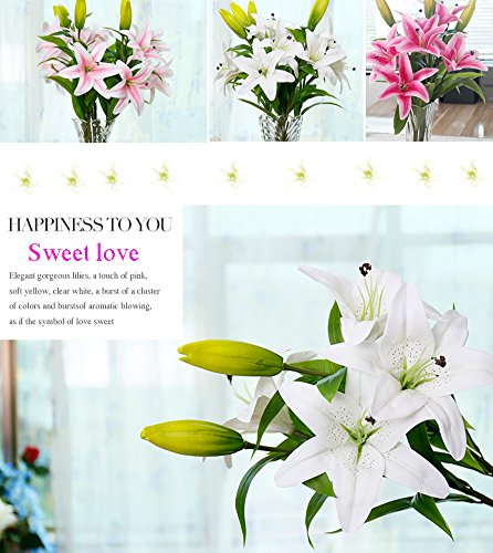 MEIWO Künstliche Blumen, 5 Stück Real Touch Latex Künstliche Lilien Blumen in Vasen Hochzeit Sträuße/Home Dekor/Party/Graves Arrangement(Rosa) - 7