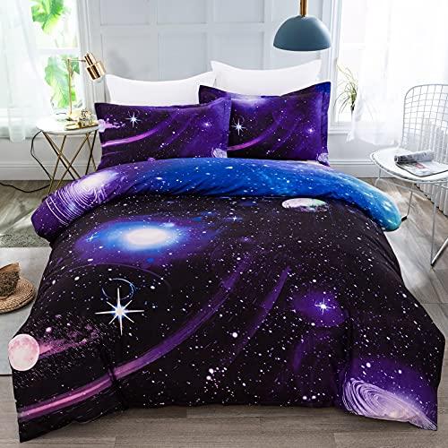 WONGS BEDDING uego de Funda de Edredón con Fundas de Almohada para Adultos y Adolescentes Tamaño Grante Diseño de Galaxia 220x240cm