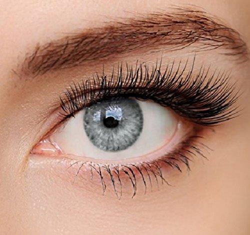 ELFENWALD farbige Kontaktlinsen, 3 - Monatslinsen, INTENSE EISGRAU HELLGRAU, stark deckend, natürlicher Look, maximaler Tragekomfort, ohne Stärke, 1 Paar weiche Farblinsen, inkl. Behälter