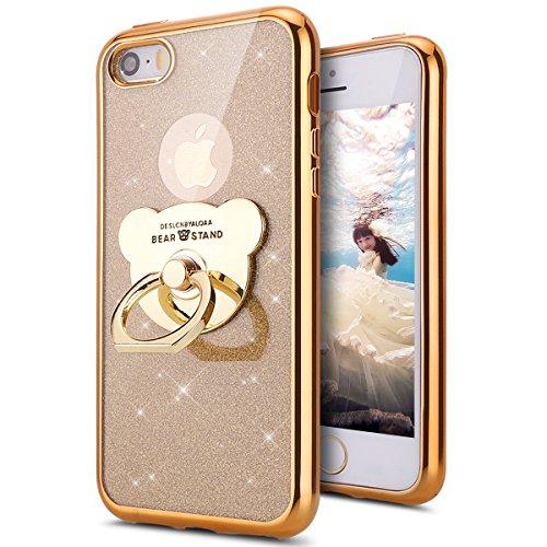 KunyFond TPU Silikon Hülle Glänzend Glitter Schutzhülle mit Ring Stand Holder Handyhülle Diamant Strass Handytache Weichem Case Cover Etui TPU Bumper Schale für iPhone SE/5S/5 (Gold)
