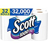 Scott 1000 Sheets Per Roll Toilet Paper, 4 Packs of 8 Rolls (32 Rolls Total) Bath Tissue