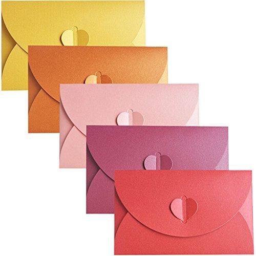 20 Stück Perlglanzpapier Umschlag,Candy-Farben-Umschlag,Kreative retro niedlichen herzförmigen Umschlag, für Hochzeit, Geburtstagsfeier Geschenk liefert,5 Farben(Gelb, Gold, Pink, Lila, Rot)