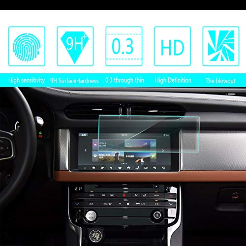 8X-SPEED for 2016 2017 2018 Jaguar F-PACE XFL 10-Inch 233x95mm Car Navigation Screen Protector HD Clarity 9H Tempered Glass Anti-Scratch, in-Dash Media Touch Screen GPS Display Protective Film