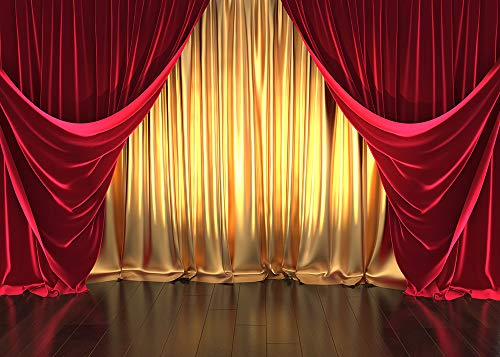 GYA 7x5ft Golden Red Curtain Party Backdrop Retro Wood Floor Photography Background Kids Children Adult Family Birthday Carnival Baby Party Cake Table Vinyl Banner Supplies