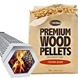 Kona Wood Smoker Tube & Smoking Pellets Set - Hot & Cold Smoke for Charcoal, Electric, Gas & All BBQ Grills - Stainless Steel 12 Inch Hexagon & 14 ounces of Premium Blend Hardwood