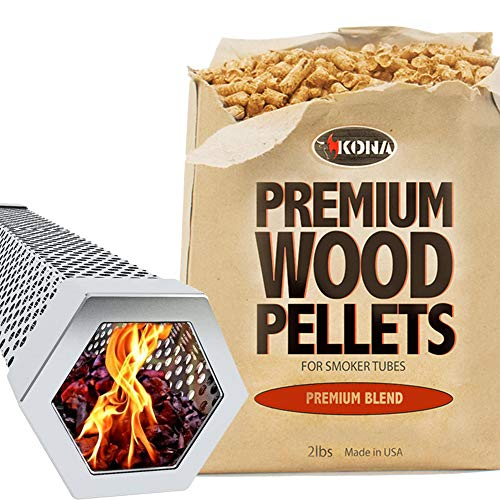 Affordable Kona Wood Smoker Tube & Smoking Pellets Set - Hot & Cold Smoke for Charcoal, Electric, Ga...