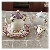 JINQIANSHANGMAO Süßes Cartoon-Motiv Die Schöne und das Biest, Kaffee- und Teeservice mit Tasse und Tasse mit Aufschrift 'Mrs Potts' (Farbe: 1 Cup1 Pot1 Sugar1 Teller)