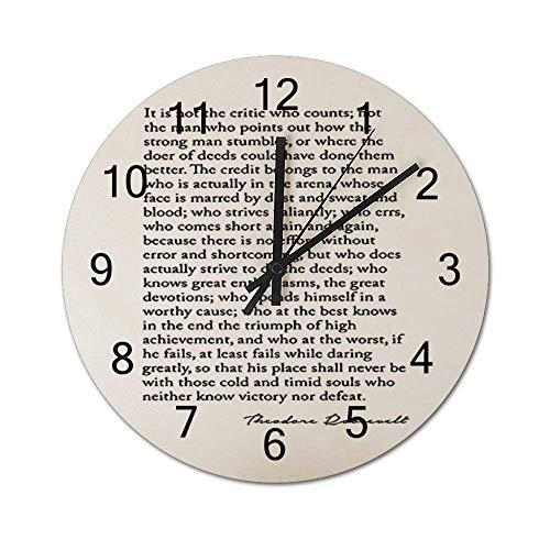 Reloj de Pared de Madera Redondo rústico silencioso sin tictac de 10 Pulgadas, Fuente de Texto, documento, caligrafía, decoración de Pared de Granja Vintage para el hogar, la Oficina, la Escuela