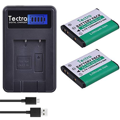 Tectra 2Pcs Nikon EN-EL19 Replacement Battery + LCD USB Charger for Nikon Coolpix S32 S33 S100 S2500 S2750 S3100 S3200 S3300 S3400 S3500 S4100 Digital Cameras