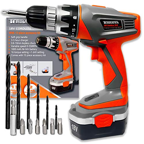 Terratek Cordless Drill 18V Combi Drill - Electric Screwdriver, Cordless Screwdriver, LED Work Light, Quick Change Battery & Charger Included
