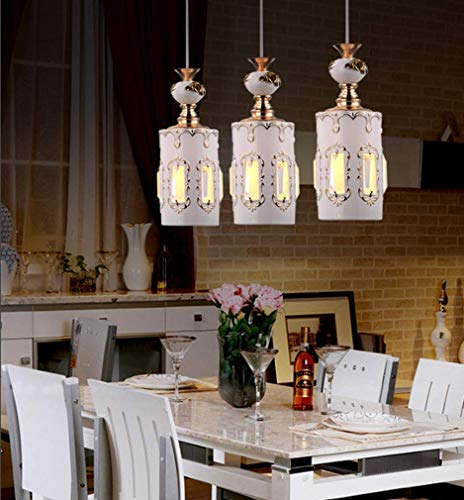 Hai Ying 3 vlam kroonluchter Ristorante moderne hanglamp keramiek kristal kroonluchter Chinese stijl rond koffie woonkamer E27 * 3