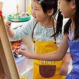 Malschürze Kinder, 2 Stück Kinder Schürzen Set mit Taschen, Kochschürze Kinder Jungen Mädchen, Verstellbare Kleinkind Kochschürze für Basteln Malen Backen Kochen, Grün und Gelb (8-12 Jahre) - 6