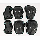 YJXD 6pcs / Set de Patinaje de protección Gear Set Coderas Bicicletas monopatín de Hielo Patín de Ruedas Protector de la Rodilla for Niños Adultos (Color : Blue, Size : Adult)