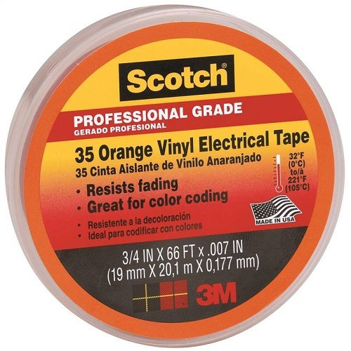 3M 80611211600 35 Scotch Elektro Isolierband, Vinyl, 19 mm x 20 m, Orange