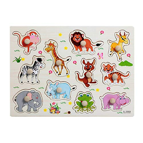 Floridivy Houten Baby Kinderen Animal Jigsaw Early Learning Puzzle Speelgoed Educatief Plate