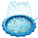 VKSG Sprinkler Pad Splash Water Mat for Kids Play, Sprinkler Wading Pool for Children Learning, 68'' Eco-Friendly PVC Inflatable Water Toys Outdoor Swimming Pool for Babies and Toddlers