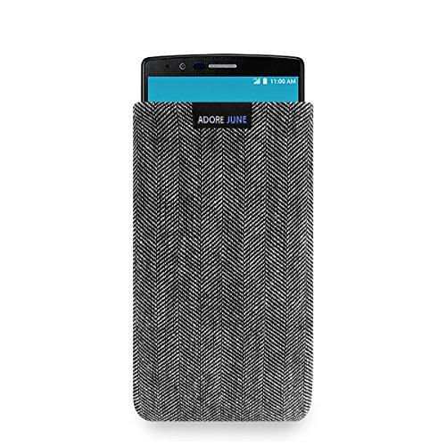 Adore June Business Tasche für LG G4 Handytasche aus charakteristischem Fischgrat Stoff - Grau/Schwarz | Schutztasche Zubehör mit Bildschirm Reinigungs-Effekt | Made in Europe