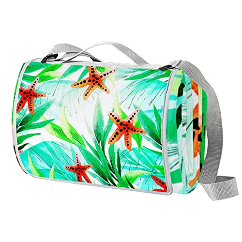 Manta de picnic portátil de 57 x 59 pulgadas, impermeable, para playa, camping, césped, música, festival, hojas tropicales, color verde