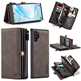 GFU Detachable 2-in-1 Samsung Galaxy Note 10 + Wallet Case 5G Hard TPU Leather Card Holder Hidden Waterproof Zipper Magnetic Luxury Purse Cover for Samsung Galaxy Note 10 Plus Women Men Girls (Brown)