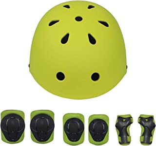 Lohesozl Kid Helmet 7Pcs Sports Protective Gear for Kids, Adjustable Elbow Pads Knee Pads with Wrist Guard, 3-11 Years Boys Girls Child Skateboard Rollerblading Cycling Scooter Helmet