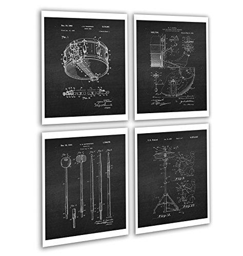 Vintage Drum Posters Set of 4 Unframed Patent Art Chalkboard Gift for Drummer Wall Decor