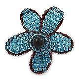 Handgefertigte kupferfarbene Brosche, Gänseblümchen, mit hellblauen Glasperlen