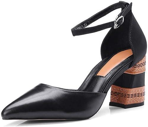 VIVIOO Chaussures en Cuir véritable véritable véritable Orteil Femmes Pompes Mode Couleurs mélangées Chaussures de soirée Talon Haut Chaussures e55
