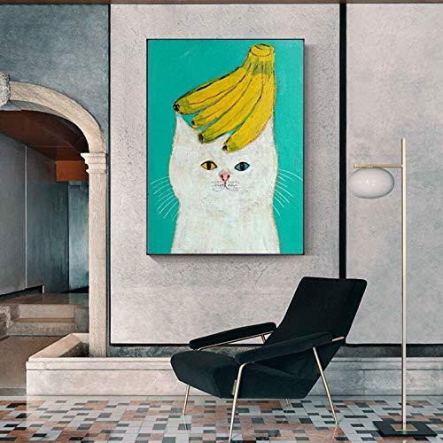 Dibujos animados lindo animal de moda divertido plátano gato vida feliz cartel lienzo pintura pared abstracta arte imagen sala de estar dormitorio del niño decoración del hogar