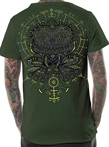 Herren Psychodelisches T-Shirt Psycho Kröte Grafik Psi Trance Hypnotisch Druck Olive Oberteil M