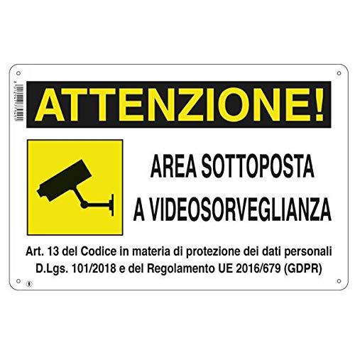 CARTELLI SEGNALETICI AREA SOTTOPOSTA A VIDEOSORVEGLIANZA AREA VIDEOSORVEGLIATA PVC (1)