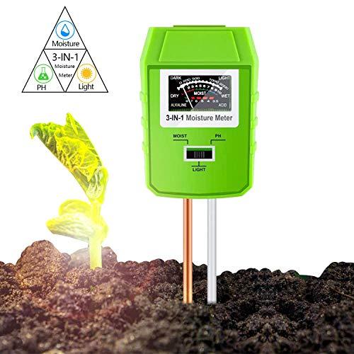 3-in-1 Bodentester, Boden Feuchtigkeit Meter/Boden-pH-Messgerät, Feuchtigkeit/Sonnenlicht/PH-Tester für Bauernhof, Pflanzenerde, Rasen, Garten, Kein Batterien Erforderlich (Nur für Boden) (Grün)