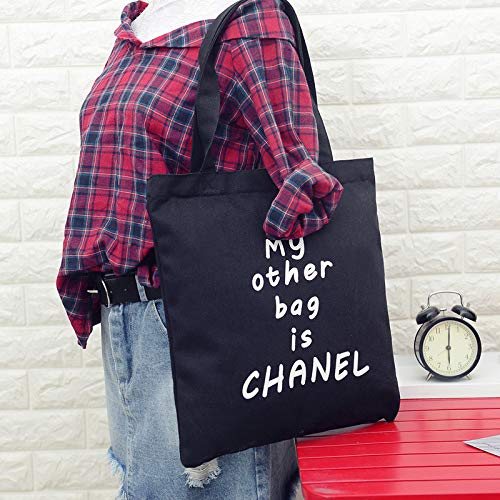 Pratica borsa femminile My other borsa è Chanel di tela a tracolla semplice luce file shopping viaggio borsetta (nero) Huihuger