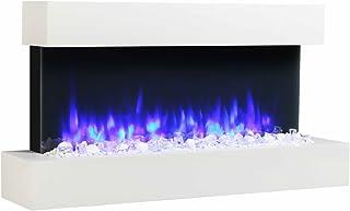Endeavour Fires, el Runswick: Fuego eléctrico montado en la Pared, 220/240 Vac, 50 Hz, 1 & 2KW, 7 días de Control Remoto programable con una repisa de MDF y rodapié Blanco.