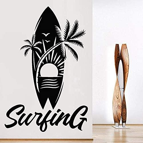 Deportes Acuáticos Etiqueta De La Pared Surf Tabla De Surf Palm Beach Sunshine Patrón Creativo Vinilo Impermeable Etiqueta De La Pared Decoración De La Habitación Para Adolescentes 63X42Cm