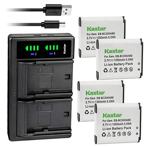 Kastar 4-Pack Battery and LTD2 USB Charger Replacement for Samsung EB-BC200, EB-BC200ABE, EB-BC200ABK, EB-BC200ABUGUS, GH43-04604A, Samsung Gear 360, SM-C200, SM-C200NZWAXAC, SM-C200NZWAXAR (US Model)