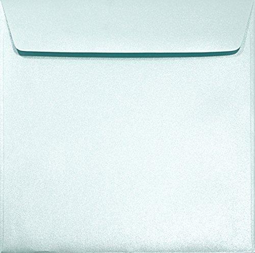 25 Perlmutt-Hell-Blau quadratische Umschläge 120g 156x156mm Majestic Damask Blue Luxus-Umschläge Perlmutt aus Pearl-Papier festliche Brief-Kuverts perlmuttfarbene Briefumschläge quadratisch glänzend
