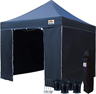 TISTENT 10'x10' Ez Pop Up Canopy Tent Commercial Instant Shelter with Heavy Duty Carrying Bag and 4 Removable Side Walls, 4 Canopy Sand Bags Black