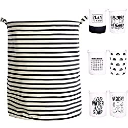 black and white striped cloth basket with handles
