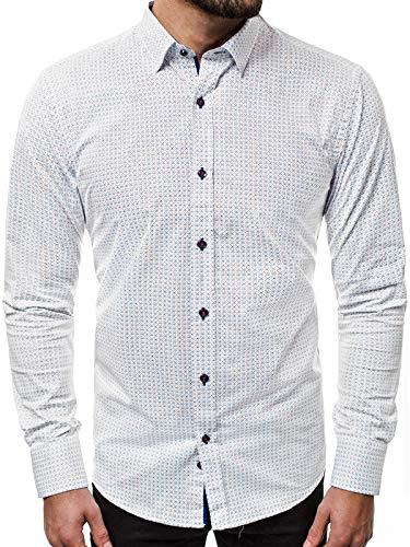 OZONEE Herren Hemd Freizeithemd Shirt Langarm Tailored Fit Flanellhemd Langarmhemd Langärmliges Slim Fit Freizeit Business Männer Jungen Trachtenhemd V/K61 XL