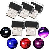 Luces de ambiente LED para automóvil, 5 piezas de iluminación USB Ambiente de luz Set Decoración interior para automóvil (5 colores, rojo/azul/rosa/blanco/azul hielo)