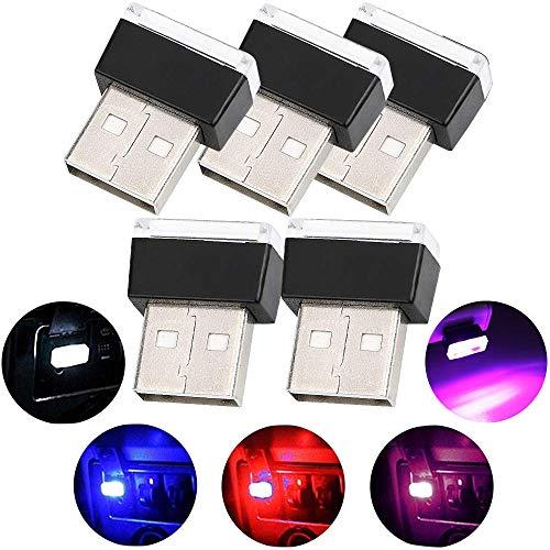 Luci per auto a LED per auto, illuminazione per illuminazione a 5 pezzi USB Illuminazione per interni Decorazione per auto (5 colori, rosso / blu / rosa / bianco / blu ghiaccio)