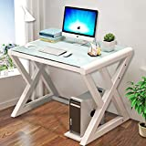 URRED Computer Desk Glass Top and Metal Frame, Desk Table for Computer Desk Gaming Modern Study Office Work Writing Desks Table for Home Office Small Black (39.4 inch)