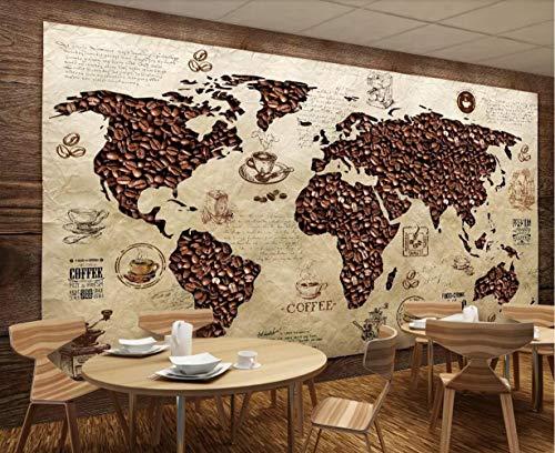 Fototapete 3D Tapete Kaffee - Weltkarte Retro - Hintergrund - Wand 3D Effekt Vliestapete Wandbilder Wanddeko