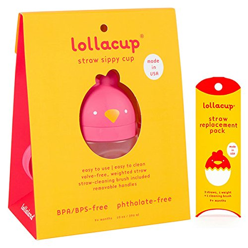 Lollaland Weighted Straw Sippy Cup for Baby: Lollacup - Transition Kids, Infant & Toddler Sippy Cup (6 months - 9 months) | Shark Tank Products | Lollacup (Bold Red) w/ Straw Replacement Pack